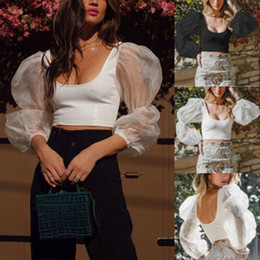 See Through Tee Shirt Australia - feitong 2019 summer sexy style tops Women Lace Mesh Sheer See Through Patchwork Puff Sleeve Crop Tops T-Shirt Slim Fitting tee