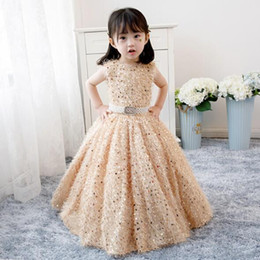 $enCountryForm.capitalKeyWord Australia - 2019 New Sequin Beading Girl Wedding Dresses Elegant Gold Tulle First communion Gown Kids Evening Formal Princess Dress Baby Baptism