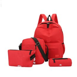 Wholesale New Four piece Designer Backpack Branded Letters Casual Breathable Canvas School Bags Multi purpose Back Packs For Student Shoulder Bag