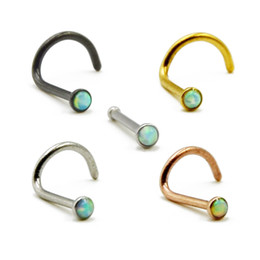 316l surgical steel nose ring Australia - 50piece 316l Surgical Steel With Opal Stone Colorful Nose Bone Screw Stud Rings Piercing Body Jewelry 20g