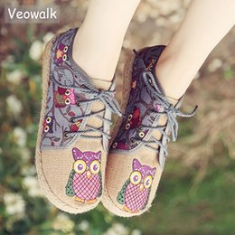 Wholesale thai animals for sale – custom Veowalk Vintage Women Shoes Thai Cotton Linen Canvas Owl Embroidered Cloth Single National Flats Woven Round Toe Lace Up