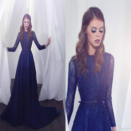 arabic designers evening gowns 2019 - Zuhair Murad Navy Blue Prom Dress Lebanon Lace Pearls Long Sleeve Evening Dress with Belt 2016 Dubai Arabic Muslim Cheap