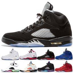 $enCountryForm.capitalKeyWord Australia - Quality High 5 5s Og Black Metallic Basketball Shoes Men 5s Black Grape Oreo Red Suede Metallic Silver International Flight Sneakers 41-47