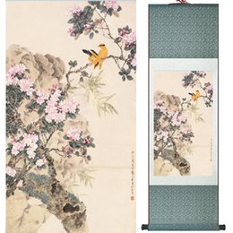 scroll paintings Australia - Home Office Decoration Chinese Scroll Painting Birds Painting Printed Painting 052309