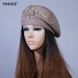 7e91b877 YHKGG Women Winter Beret Hat Female Rabbit Wool Blend Knitted Berets And  Flower Ornament Caps Fashion Rhinestones Decorate