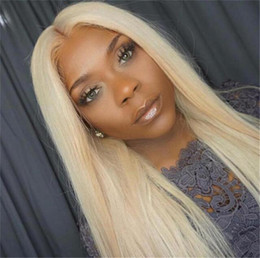 Platinum Blonde Full Lace Wigs Australia - 613 Platinum Blonde Full Lace Wigs Vrigin Brazilian Hair Blonde Lace Front Wig Silky Straight Blonde Human Hair Wig With Baby Hair