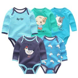 $enCountryForm.capitalKeyWord NZ - 5 Pcs lot Winter Long Sleeve Newborn Bodysuit Cotton Jumpsuit Ropa Bebe White Baby Boy Girl Clothes Q190520