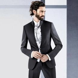 $enCountryForm.capitalKeyWord Australia - Italian Style Black Men Suits for Wedding Groom Tuxedo Stand Collor Best Man Blazer 3Piece(Coat Pants Vest)Costume Homme Terno Masculino