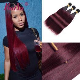 Burgundy two tone hair online shopping - Malaysian Straight Hair Bundles B Burgundy Ombre Human Hair Weave Bundles Two Tone Colored Brazilian Peruvian Remy Hair Wefts Ruiyu