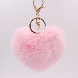 $enCountryForm.capitalKeyWord UK - 26 Colors Fashion Women Handbag Pendant Charm Heart Shape Decor Pompom Keychain Soft Plush Rex Rabbit Fur Heart Shaded Keychains
