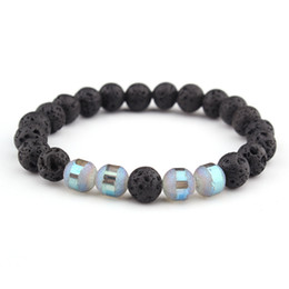 Reiki Healing Wholesalers Australia - Black Lava Rock Beads 8mm Chakra Healing Balance Bracelet for Men Women Reiki Prayer Stone Bracelet Yoga Chakra Bracelet