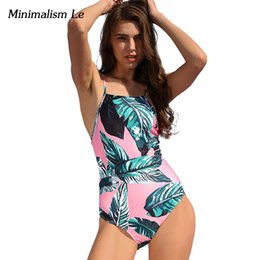 Wholesale one lycra suit green for sale – halloween Minimalism Le One Piece Swimsuit Sexy Print Women Swimwear Brazilian Biquini Small Fresh Maillot Bathing Suits BK659
