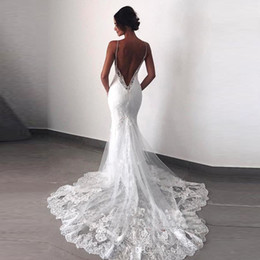 Open Back Wedding Dress Designers Australia - 2019 New Designer Sexy Lace Mermaid Wedding Dresses Spaghetti Straps Open Back Wedding Dress Bridal Gowns Vestidos De Noiva robes de mariée
