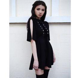 $enCountryForm.capitalKeyWord Australia - Ribbon Decorated Gothic Women Black Dress Japanese Harajuku Punk Cross Straps Tie Slim A Line Dress T5190604