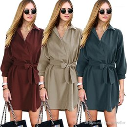 tunic length shirts Australia - Dresse New Loose Fitting Mid Sleeve Lapel Shirt Dresses Mid Length Tunic Lace Up Dress Women Designer Summer