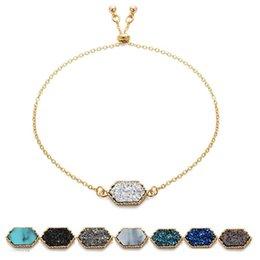 $enCountryForm.capitalKeyWord Australia - 2019 Geometric Druzy charm bracelets Natural stone Gold Silver chains wrap Bangle For women Fashion Jewelry Gift Drop shipping