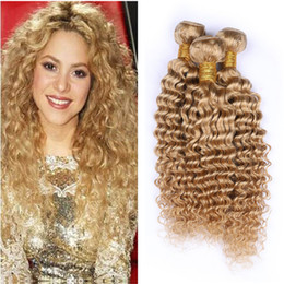 Großhandel 8A Honig Menschenhaar-einschlag Bundles Rotblond Rohboden brasilianische tiefe Welle Haar 3Bundles Haarfarbe # 27 Brazilian Virgin Bundles