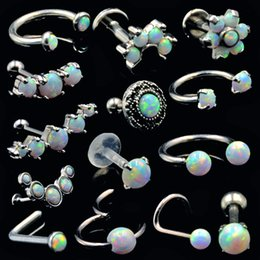 Discount nose clicker - BOG-1pcs Surgical Steel Opal Ear Tragues Septum Clicker Nose Ring Nipple Shield Labret Eyebrow Piercing Earring Body Jew