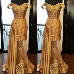 bc188a50578 Dark green golDen Dress online shopping - Off The Shoulder Long Prom Party  Dresses Arabic Golden