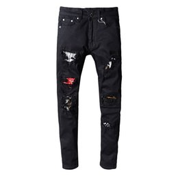 Wholesale hot designer jeans for men for sale – denim Hot Bal Mens Distressed Ripped Biker ma in Jeans Slim Fit Motorcycle Biker Denim For Men Fashion Designer Hip Hop Mens Jeans Good Quality