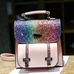 rainbow handbags Canada - Designer Women Backpack Sequins Fashion Backpack for Women Lady Shoulder Bag Handbag Rainbow Sequins Decoration Bag Small Travel Bags