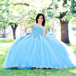 $enCountryForm.capitalKeyWord UK - Princess Light Blue Ball Gown Wedding Dresses New 2019 Lace Appliued Beaded Sexy Straps Arabic Bridal Gowns Floor Length Engagement Dress
