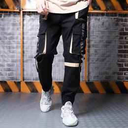 $enCountryForm.capitalKeyWord Australia - Super-fire CEC trousers men's loose pure yarn ribbon ulzzang straight barrel ins light daddy trouser man pant mens designer joggers