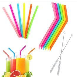 Wholesale Reusable Silicone Straw Set Flexible Bend Smoothies Drinking Straws Kitchen Environment-friendly Multicolor Straws Straight Bent YP843