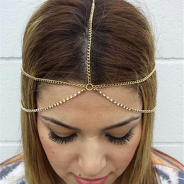 Chain Headpiece Forehead Australia - Gold Head Chain Bohemian Hair Jewelry Headpiece Forehead Band Festival Hair Headband Accessories for Women and Girls