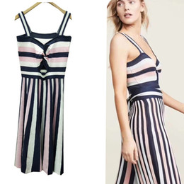 76acf59a5a Club Factory Dresses NZ - 2019 summer new women's retro striped strap long  dress ice silk