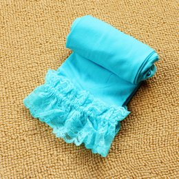 girl tight cotton short NZ - Kids stocking Cropped Tights lace Chidren Tights For Girls Velvet Lace side Shorts Pantyhose Spring summer Candy Colors Infantil
