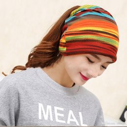 75022048f81b9 New Arrival Women s Fashion Turban Autumn Winter Warm Headdress Caps Hat  Colorful Striped Scarf Work Out Beanies Accessories