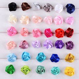 yellow rose buds UK - 20Pieces Lot Size 2.5CM Ribbon Rose Head Flower Silk Satin Bud Flowers Hand DIY Wedding Bouquet Girl Hair Cloth Accessories