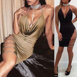 7db50943e2 Sexy bodycon cutout dreSS online shopping - Women Sexy Cutout Bodycon Dress Deep  V Neck Backless