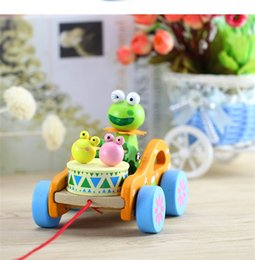 Frog cars online shopping - Mung Bean Frog Drum Pulling Car Modeling Kids Fun Wooden Toys Cute Educational Model Toys fq E1