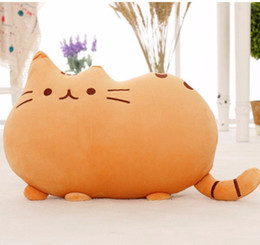 Doll Zippers Wholesale Australia - 40*30cm Kawaii Cat Pillow With Zipper Only Skin Without Cotton Biscuits Plush Animal Doll Toys Big Cushion Cover Peluche Gift