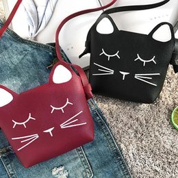 Wholesale New Fashion Children Casual Single Layer Magnetic Clasp Square Cute Cat Pattern Shoulder Bag
