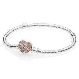3808d1daf Boosbiy Luxury Crystal Heart Shape Clasp Snake chain Charm Bracelet Fit  Brand Bracelets For Girl Boy DIY Making Jewelry SA28