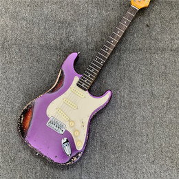 Mixing Electric Guitars Australia - In stock, purple mixed color retro electric guitar style retro, relic electric guitar, send friends. Free shipping.