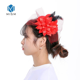 $enCountryForm.capitalKeyWord NZ - Women Party Fascinator Cute Hat Hair Clips With Veil Feather Flower Classical European Lady Style Hairpins Accessories For Girls