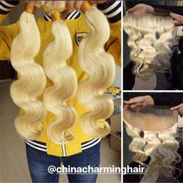 $enCountryForm.capitalKeyWord Australia - 613 Blonde Bundles With Frontal Closure Ear to Ear Brazilian Body Wave Human Hair Weft Full and Thick