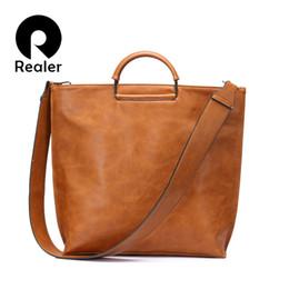 Tote Large Australia - Realer Brand Women Handbag Casual Large Tote Bag Female High Quality Artificial Leather Wide Shoulder Strap Messenger Bag Clutch Y19061803