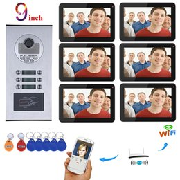 5.3 inches phones 2019 - 9 inch Wired Wifi Apartments Video Door Phone Intercom System RFID IR-CUT HD 1000TVL Camera with 3 4 5 6 12 Apartment Fa