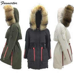 large raccoon fur 2019 - 2018 Winter Jacket Women Parka Warm Jackets Black Long Coats Female 100% Real Large Raccoon Fur Collar Hooded Coat Femin