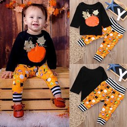 wholesale little girl tees shirts Australia - Newest Designs Little Boys Girls Suits Halloween Pumpkin Children Clothing Sets Long Sleeve Tops Tees + Stripes Elastic Pants Kids Suits