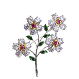 $enCountryForm.capitalKeyWord UK - New high-end Korean female brooch set with zircon flowers retro style corsage fashion temperament ladies pin clothing accessories