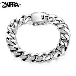 $enCountryForm.capitalKeyWord Australia - Zabra Luxury 925 Sterling Silver Bracelets Man High Polish Curb Link Chain Bracelet For Men Vintage Punk Rock Biker Mens Jewelry C19041001