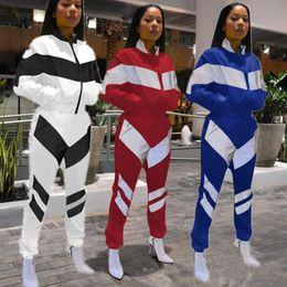 High Neck Motorcycle Jacket Fashion Australia - Women Color Match Tracksuit Zipper Jacket Crop top Coat + Pants 2PCS Outfits Brand Fashion Sportswear Sports Street Suits S-3XL C3142