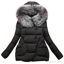 Feather Jackets Women UK - New Winter 2016 Women Jackets Cotton Full Sleeve Covered button with pocketswomen Hat with Feathers Ultra Light Down Jacket A023