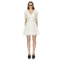 $enCountryForm.capitalKeyWord Australia - 2019 Spring-summer Women Dress Lace Hollowed Out Sweet Above Knee Mni V-neck Short White A-shaped Dresses